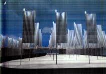 Simulatie van het woud van vlaggenmasten dat de Franse kunstenaar Daniel Buren in Brussel wil inplanten.