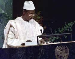 De nu doodzieke president van Guinee Lansana Conté, hier vijf jaar geleden toen hij de Algemene Vergadering van de VN toesprak.