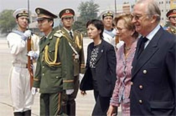 Koning en koningin komen aan in China