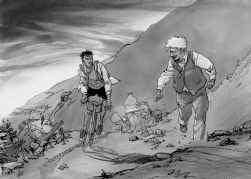 ,,'De teenloze adelaar' is vooral een menselijk avontuur'', zegt de stripauteur Lax. Toch zullen wielerfans er een mooi stukje Tour-geschiedenis in vinden.