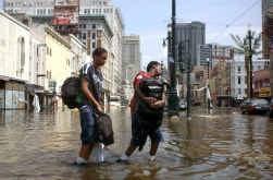 Overstroming in New Orleans: het verband met het broeikaseffect is omstreden.
