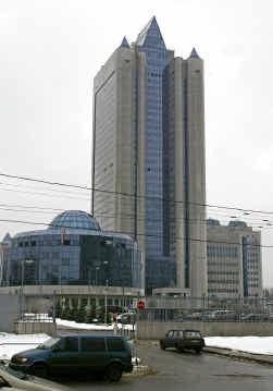 De hoofdzetel van Gazprom in Moskou.