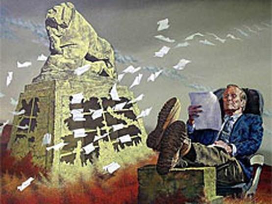 Rumsfeld publiekstrekker op tentoonstelling in Bagdad