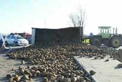 IEPER Op het kruispunt van de Ieperse Zuiderring en de Karel Steverlyncklaan (de rotonde met de zwevende waterkraan) is gistermiddag een tractor met een kar vol bieten gekanteld. Het wegdek helt daar wat af en wellicht heeft de landbouwer iets te snel de