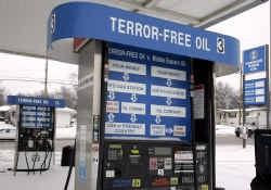 Terror-Free Oil moet een keten worden van tankstations die benzine verkopen, gemaakt uit olie van buiten de Perzische Golf.