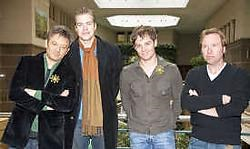 Bart Peeters, Tom Coninx, Peter Van De Veire en Mark Van Eeghem voorlopig nog aangekleed. gbr<br>