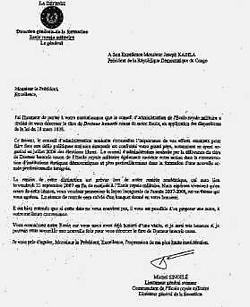 De brief - zonder datum of dossiernummer - die generaal Singelé op vraag van minister Flahaut aan Kabila richtte.rr <br>