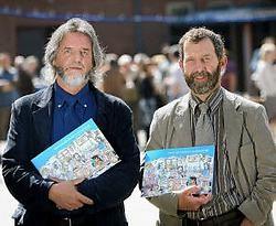 Piet Rymen (rechts) schreef het stripverhaal, Dré Matthijs verzorgde de tekeningen. Yorick Jansens<br>