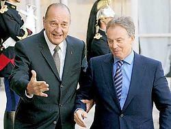 Blair, gisteren in Parijs op visite bij Sarkozy, bracht ook een laatste bezoekje aan Chirac op het Elysée.ap<br>