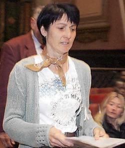 Martine Debatty, de zus van de vermoorde para Alain Debatty, hield<br> gisteren op het Rwandaproces een pakkende toespraak.belga<br>