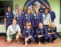 Pieter Nuytinck (links vooraan) en de andere Eeklose scoutsleden zijn met grote verwachtingen vertrokken naar de Wereldjamboree.emv