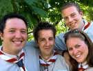 Tom Logan, Matthew Garrard, Ellen Shaw en Robert Wilson van de groep uit Nottingham. <br>