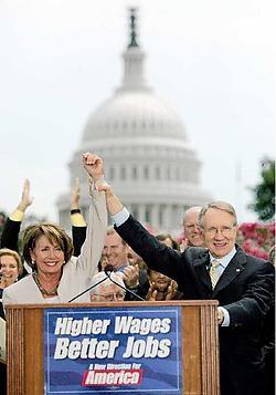Nancy Pelosi (Huis) en Harry Reid (Senaat) kunnen weinig wetgevende successen voorleggen. afp<br>