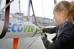 Evi Van Acker (bij de doop van het jacht Ecover in oktober 2006): 'Ik weet dat ik kan winnen in Peking.'belga<br>