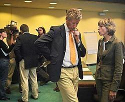 Fractievergadering van CD&V en N-VA gisternamiddag. Links Jo Vandeurzen, rechts Pieter De Crem. Bart Dewaele