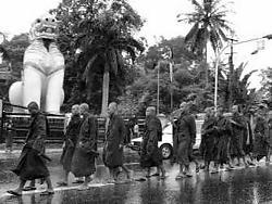 Monniken betoogden voor de derde opeenvolgende dag in Rangoon.afp<br>