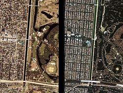 Links, New Orleans op 28 augustus 2002. Rechts, hetzelfde gebied op 2 september 2005. Dankzij Ikonos is goed te zien wat orkaan Katrina aan schade heeft aangericht. European Space Imaging<br>