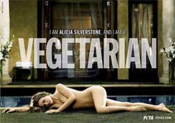 Alicia Silverstone uit de kleren voor dierenrechten