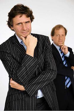 Erik Van Looy (de presentator) en Rik Torfs (de jury). Gary Breyssem<br>
