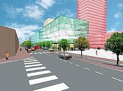Simulatie van de toekomstige Koningin Fabiolalaan, met een mix van woningen en kantoren.rr