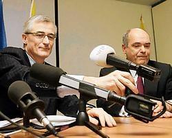 Minister Geert Bourgeois en Dirk Wauters, de gedelegeerd bestuurder van de VRT. belga<br>