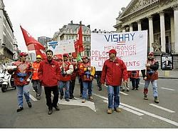De boze arbeiders van Vishay trokken naar het Brusselse parlement. Herman Ricour