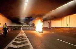 Het nieuwe branddetectiesysteem werd gedemonstreerd in de Belliardtunnel. Jennifer Jacquemart<br>