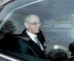 Kamervoorzitter Herman Van Rompuy arriveert voor het kasteel Belvédère voor een gesprek met de koning.belga<br>