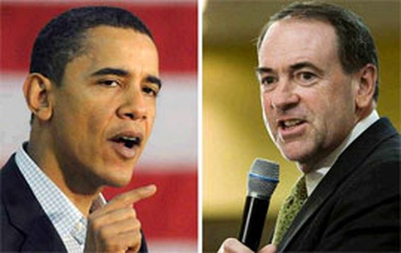 Obama en Huckabee winnen in Iowa