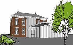 Links van het gemeentehuis komt er een bijgebouw en achteraan komt er een glazen ruimte. Mine Dalemans<br><br>