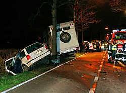 De beide voertuigen kwamen naast de weg terecht. Eddy Van Ranst