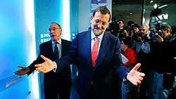 Mariano Rajoy (centraal), partijleider van de Partido Popular, weerde Alberto Ruiz-Gallardon, de burgemeester van Madrid, van de kieslijst.afp<br>