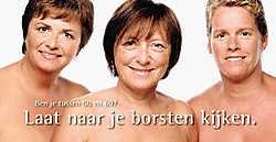 Burgemeester Yolande Avontroodt werkte eerder, samen met OCMW-voorzitster Lieve Struyf (links) en raadslid Anke Fierens (rechts) zelf al mee aan een kankerpreventiecampagne.<br>