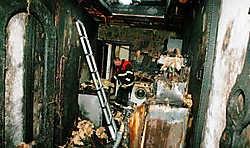 De brand ontstond in de totaal vernielde keuken van de woning.vacas<br>