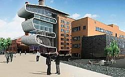 Blikvanger wordt een monumentale voorbouw in zink en glas, binnen een opvallende, slangvormige constructie.ingezonden beeld <br>