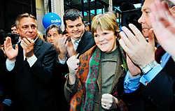 Voorzittersverkiezingen bij Open VLD. Van links naar rechts: Patrick Dewael, Bart Somers, Margriet Hermans en Karel De Gucht.Ivan Put<br>