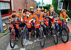 In totaal namen er 85 leerlingen deel aan de praktische proef van het fietsexamen.Patrick Holderbeke