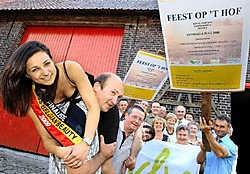 Luc Vercruysse is maar al te graag drager van finaliste Miss Belgian Beauty Wendy Volders uit Volkegem die de presentatie van de feesten voor haar rekening neemt. Paul Noens draagt zijn buurvrouw naar de eindstreep. David Stockman