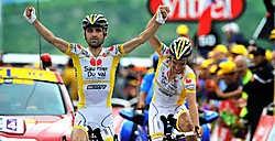 Leonardo Piepoli (op de voorgrond, Juan José Cobo Acebo op de achtergrond): 'Voor mezelf ben ik heel tevreden, maar ik denk niet dat Riccardo Riccò het bij zijn twee zeges zal laten.'photo news<br>