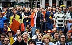 Ontgoocheling op de Brusselse Grote Markt gisteren, tijdens de teleurstellende wedstrijd van de Jonge Rode Duivels tegen Nigeria.<br> Bart Dewaele