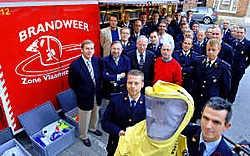 Korpschef Chris Bral stelde de IGS-container voor aan de burgemeesters en korpschefs van de zone Vlaamse Ardennen. David Stockman<br>