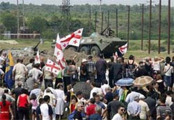 Demonstratie tegen aanwezigheid Russen in Poti