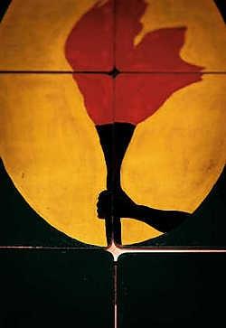 'Democracy game', een kunstwerk van Meschac Gaba uit 1999: door te schuiven met de elementen van het spel, kan de toeschouwer een vlag ontwerpen voor een jong Afrikaans land.Wouter Van Vooren<br>