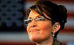 Sarah Palin met haar bril van Kazuo Kawasaki.afp<br>