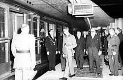 Op 4 oktober 1952 opende koning Boudewijn de Brusselse noord-zuidverbinding. belga<br>