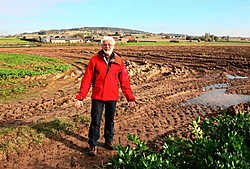 Piet Hardeman toont waar buurtweg 14 eindigt in een akker. Op de achtergrond de Kemmelberg. Bart Vandenbroucke