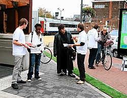 De jonge liberalen willen een groene oase op de plaats van het oude station. Louis Verbraeken