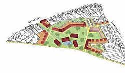 Het gebied waar woningen en gemeenschapsvoorzieningen komen, ligt in de driehoek gevormd tussen de Meerstraat, de Stationsstraat en de spoorlijn Mechelen-Dendermonde. Koen Merens