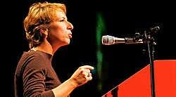 SP.A-voorzitster Caroline Gennez verliest met de huidige crisis een pak van haar moeizaam opgebouwd gezag binnen de partij. photo news<br>