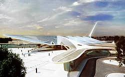 Een maquette van het nieuwe station van Bergen, van de hand van... Santiago Calatrava, die ook het station van Luik ontwierp.belga<br>